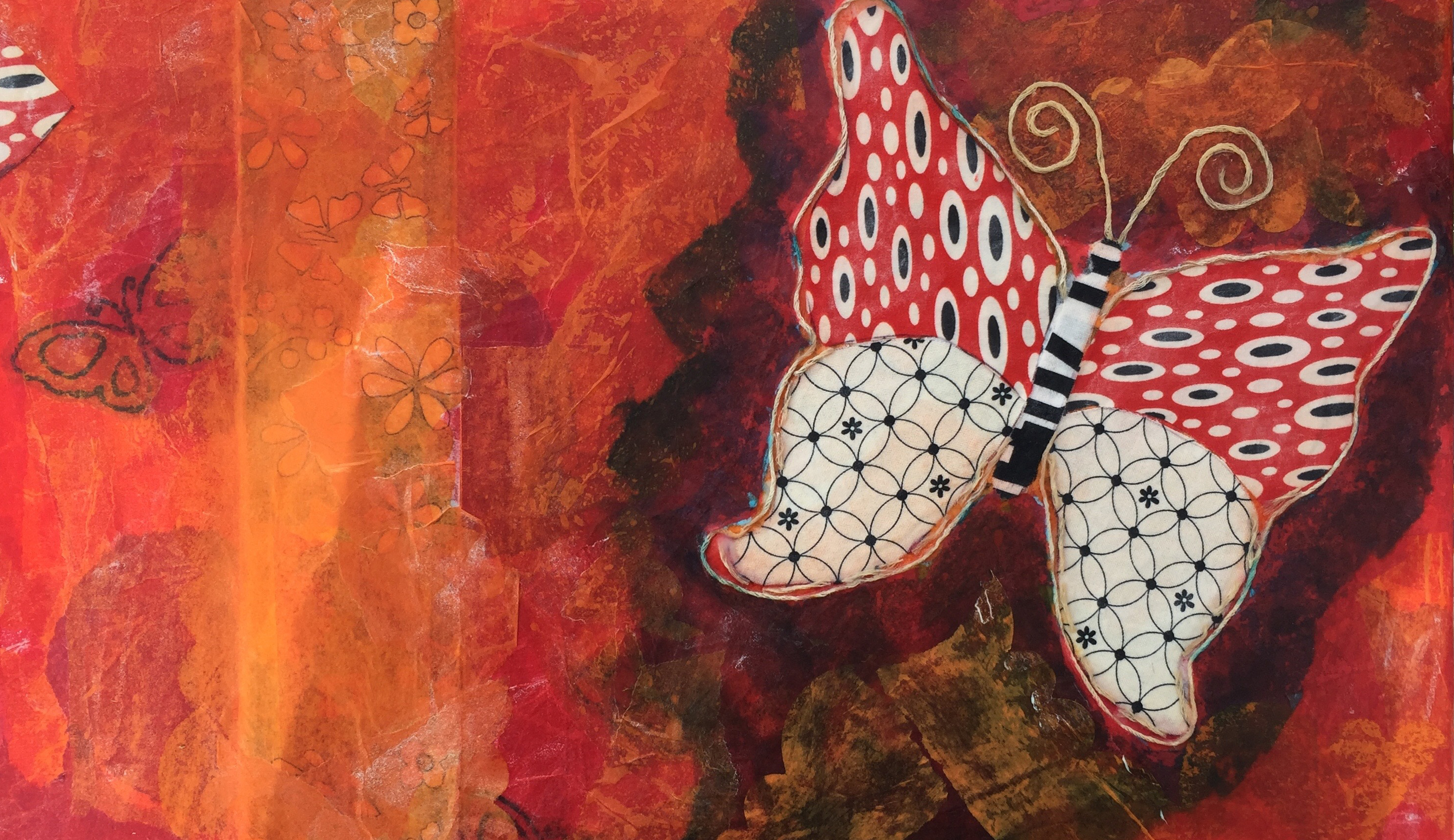 NEW! Fabric Fun - Mixed Media Painting with Paper, Cloth & Thread w/Sandy Coleman (Adults 17+)