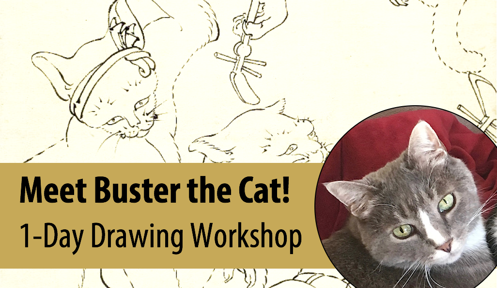 NEW! For the Love of CATS – Live Animal Adventures in Art w/Abby Rovaldi, 1-Day Drawing Workshop (Ages 8+)