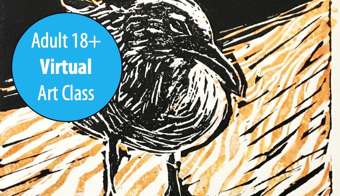 NEW! Intermediate Linocut Printmaking w/Lisa Granata For Adults 18+ (Virtual)