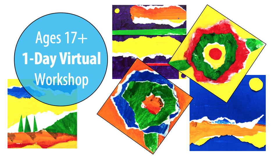 NEW! Mixed Media Mini Collages w/Artist, Sandy Coleman, 1-Day Art Workshop For Adults & Teens 17+ (Virtual)