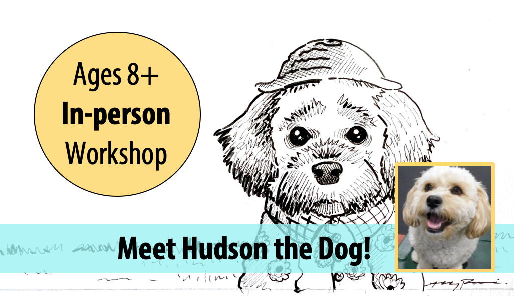 NEW! Doggie Doodling – Live Animal Adventures in Art w/Abby Rovaldi For Ages 8+ (In-person)