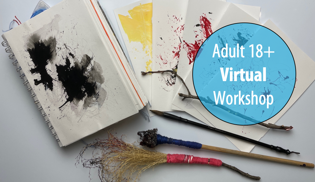 NEW! Feel the Rhythm with Sumi Ink - A Sketchbook Play Workshop w/Rina Naik For Adults 18+ (Virtual)